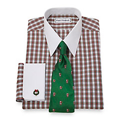Non-Iron 2-Ply 100 Cotton Check Straight Collar French Cuff Dress Shirt $70.00 AT vintagedancer.com