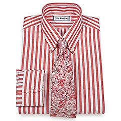 Non Iron 2-Ply 100 Cotton Bengal Stripe Button Down Collar Trim Fit Dress Shirt $30.00 AT vintagedancer.com