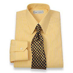 Non-Iron 2-Ply 100 Cotton Shadow Stripes Straight Collar Trim Fit Dress Shirt $60.00 AT vintagedancer.com