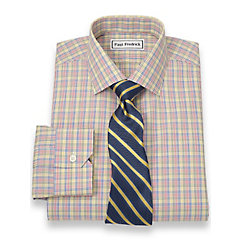 Non-Iron 2-Ply 100 Cotton Check Jermyn Street Collar Trim Fit Dress Shirt $50.00 AT vintagedancer.com