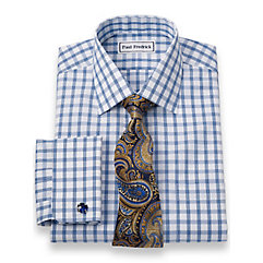Non-Iron 2-Ply 100 Cotton Windowpane Spread Collar French Cuff Dress Shirt $60.00 AT vintagedancer.com