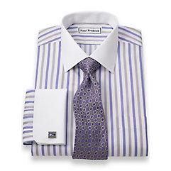 Non-Iron 100 Cotton Alternating Stripes Spread Collar French Cuff Dress Shirt $60.00 AT vintagedancer.com