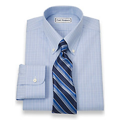Non-Iron 2-Ply 100 Cotton Glen Plaid Button Down Collar Dress Shirt $40.00 AT vintagedancer.com