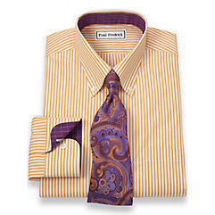 Non-Iron 2-Ply 100 Cotton Bengal Stripe Button Down Collar Trim Fit Dress Shirt $30.00 AT vintagedancer.com