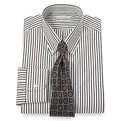 Non-Iron 2-Ply 100 Cotton Stripe Button Down Collar Dress Shirt $90.00 AT vintagedancer.com