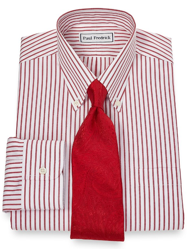 Non iron 2 ply 100 cotton stripe button down collar dress for 2 ply cotton dress shirt