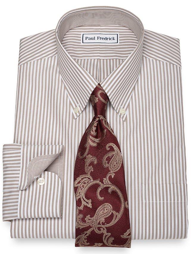 Non iron 2 ply 100 cotton bengal stripe button down for 2 ply cotton dress shirt