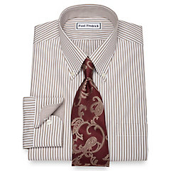 1920s Style Mens Shirts Non-Iron 2-Ply 100 Cotton Bengal Stripe Button Down Collar Dress Shirt $60.00 AT vintagedancer.com