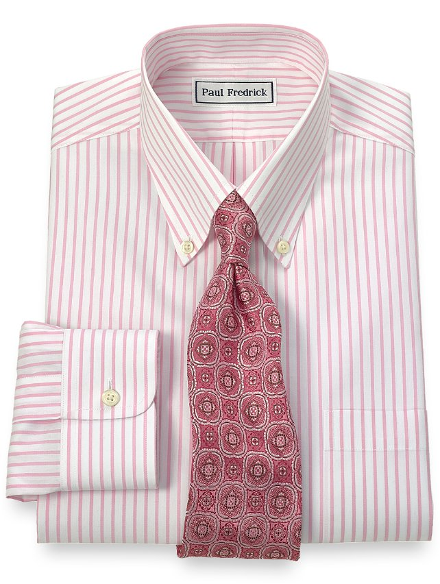 Slim fit non iron 2 ply 100 cotton stripe button down for 2 ply cotton dress shirt
