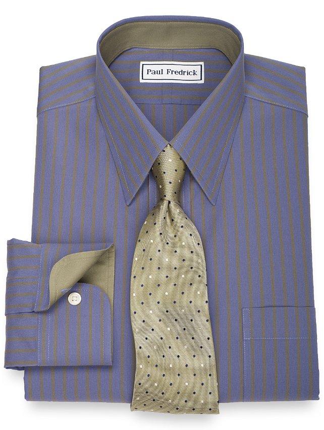 Slim fit non iron 2 ply 100 cotton twin stripe straight Straight collar dress shirt