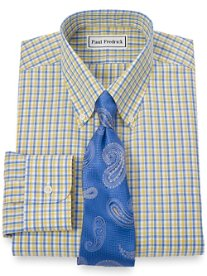 Non-Iron 2-Ply 100% Cotton Shadow Check Button Down Collar Dress Shirt