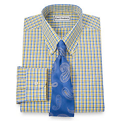 Non-Iron 2-Ply 100 Cotton Shadow Check Button Down Collar Dress Shirt $90.00 AT vintagedancer.com