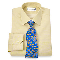 Non-Iron 2-Ply 100 Cotton Dot Pattern Spread Collar Dress Shirt $90.00 AT vintagedancer.com