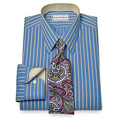 Non-Iron 2-Ply 100 Cotton Satin Stripe Straight Collar Dress Shirt $70.00 AT vintagedancer.com