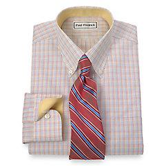Non-Iron 2-Ply 100 Cotton Tattersall Button Down Collar Dress Shirt $90.00 AT vintagedancer.com