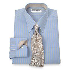 Non-Iron 2-Ply 100 Cotton Satin Stripe Straight Collar Dress Shirt $90.00 AT vintagedancer.com