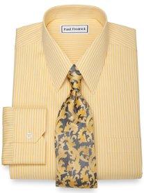 Non-Iron 2-Ply 100% Cotton Tonal Stripe Straight Collar Dress Shirt