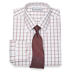 1950s Style Mens Shirts Non-Iron 2-Ply 100 Cotton Windowpane Spread Collar Dress Shirt $50.00 AT vintagedancer.com