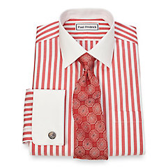 Non-Iron 2-Ply 100 Cotton Wide Stripe Spread Collar French Cuff Dress Shirt $90.00 AT vintagedancer.com