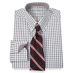 Non-Iron 2-Ply 100 Cotton Windowpane Button Down Collar Dress Shirt $90.00 AT vintagedancer.com