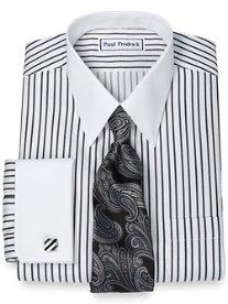 Non-Iron 2-Ply 100% Cotton Satin Stripe Straight Collar French Cuff Dress Shirt