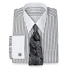 1920s Style Mens Shirts Non-Iron 2-Ply 100 Cotton Satin Stripe Straight Collar French Cuff Dress Shirt $90.00 AT vintagedancer.com