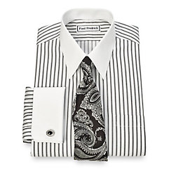 Non-Iron 2-Ply 100 Cotton Twin Stripe Straight Collar French Cuff Dress Shirt $90.00 AT vintagedancer.com