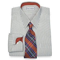 1920s Style Mens Shirts Non-Iron 2-Ply 100 Cotton Bengal Stripe Straight Collar Dress Shirt $90.00 AT vintagedancer.com