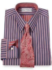 Non-Iron 2-Ply 100% Cotton Tread Stripe Straight Collar Dress Shirt