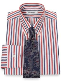 Non-Iron 2-Ply 100% Cotton Alternating Stripe Button Down Collar Dress Shirt