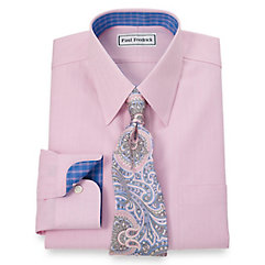 Non-Iron 2-Ply 100 Cotton Herringbone Straight Collar Dress Shirt $90.00 AT vintagedancer.com