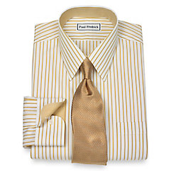 1920s Style Mens Shirts Non-Iron 2-Ply 100 Cotton Stripe Straight Collar Dress Shirt $90.00 AT vintagedancer.com