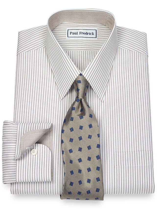 Non iron 2 ply 100 cotton fine line stripe straight for 2 ply cotton dress shirt