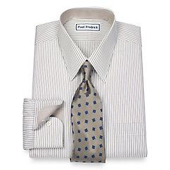 1940s Style Mens Shirts Non-Iron 2-Ply 100 Cotton Fine Line Stripe Straight Collar Dress Shirt $50.00 AT vintagedancer.com