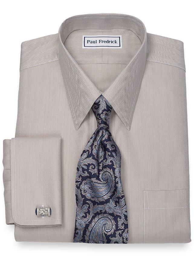 Non iron 2 ply 100 cotton herringbone straight collar for 2 ply cotton dress shirt