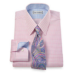 Trim Fit Non-Iron 2-Ply 100 Cotton Check Straight Collar Dress Shirt $90.00 AT vintagedancer.com
