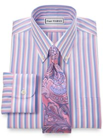 Non-Iron 2-Ply 100% Cotton Bold Stripe Button Down Collar Dress Shirt