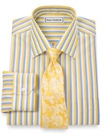 Non-Iron 2-Ply 100% Cotton Bold Stripes Spread Collar Dress Shirt