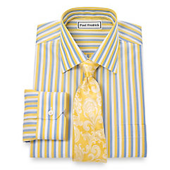 Non-Iron 2-Ply 100 Cotton Bold Stripes Spread Collar Dress Shirt $70.00 AT vintagedancer.com