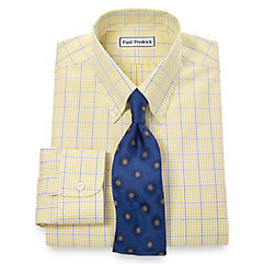 Trim Fit Non-Iron 2-Ply 100 Cotton Windowpane Button Down Collar Dress Shirt $90.00 AT vintagedancer.com