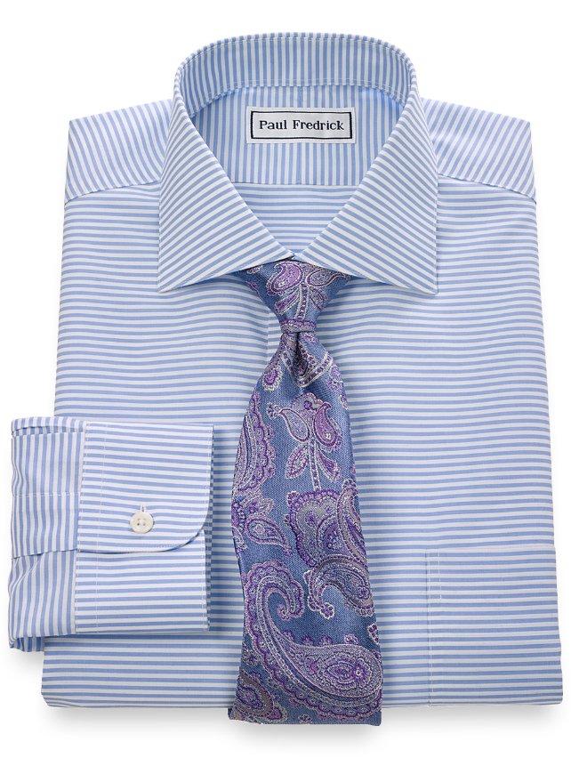 Non iron 2 ply 100 cotton horizontal stripe spread collar for 2 ply cotton dress shirt
