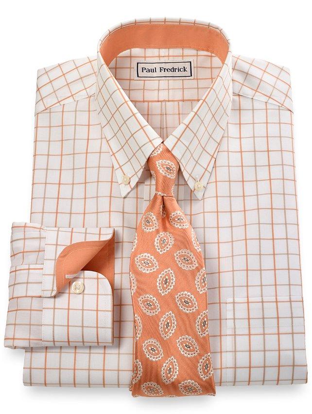 Non iron 2 ply 100 cotton satin grid button down collar for 2 ply cotton dress shirt