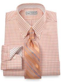 Non-Iron 2-Ply 100% Cotton Twill Check Button Down Collar Dress Shirt