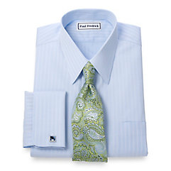 Trim Fit Non-Iron 2-Ply Cotton Stripe Straight Collar French Cuff Dress Shirt $70.00 AT vintagedancer.com
