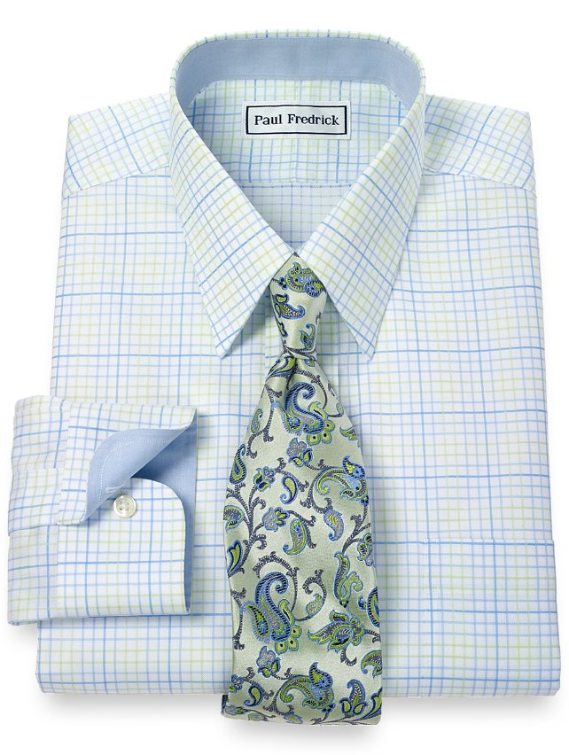 Non iron 2 ply 100 cotton tattersall straight collar Straight collar dress shirt