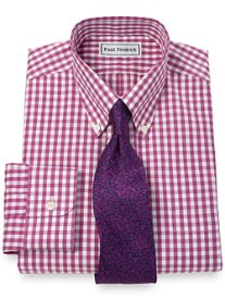Non-Iron 2-Ply 100% Cotton Pinpoint Gingham Button Down Collar Dress Shirt