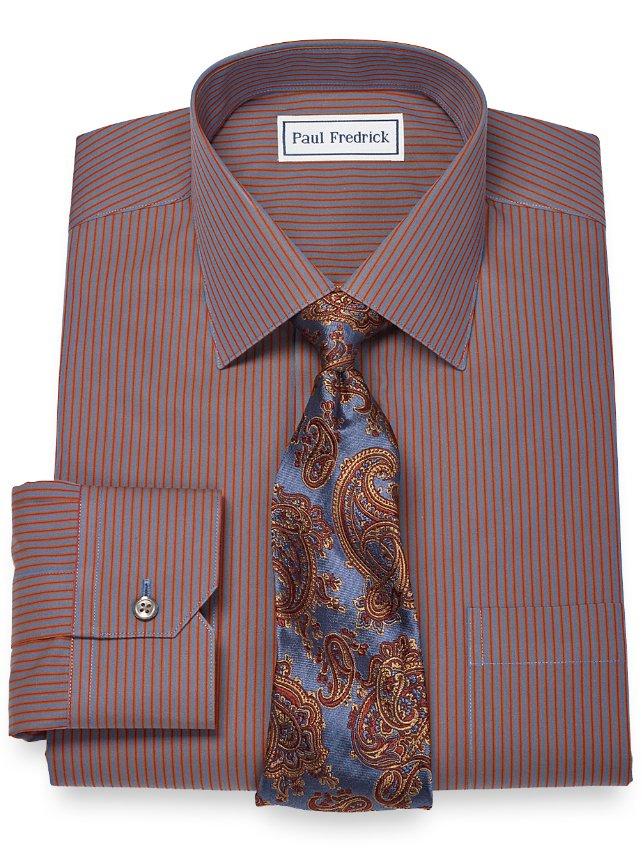 Slim fit non iron 2 ply 100 cotton stripe spread collar for 2 ply cotton dress shirt