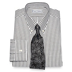 1930s Style Mens Shirts Non-Iron Cotton Stripe Dress Shirt $90.00 AT vintagedancer.com