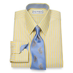 1930s Style Mens Shirts Non-Iron Twin Stripe Dress Shirt $50.00 AT vintagedancer.com