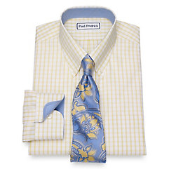 Rockabilly Men's Clothing Non-Iron Cotton Windowpane Dress Shirt $90.00 AT vintagedancer.com